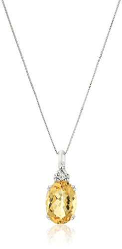 10k White Gold and Oval Citrine Pendant Necklace, 18