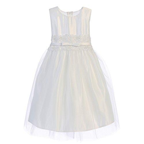 Sweet Kids Little Girls White Satin Lace Bow Tulle Flower Girl Dress 3