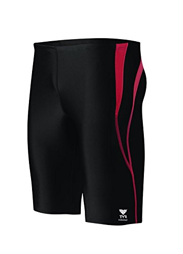 TYR  Men's Alliance Durafast Splice Jammer Swim Suit (Black/Red, 26)