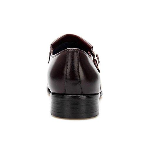 Mens Leder Freizeit Sehnen Schuhe Kleid Herbst Business Hochzeit Mode Rutschen Schwarzbraun Braun