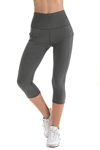 (Splendor flying Women's Yoga Capri Legging Inner Pocket Non See-Through Fabric Leggings (X-Large, VS075 Light Charcoal))
