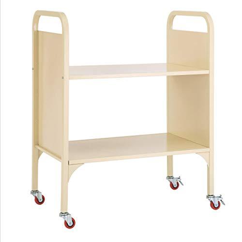 Library Cart Book School - Heavy Duty 2-Shelf Wide Media and Book Truck, School Supply Metal Utility Cart, Rolling Office Storage