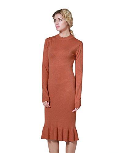 Slim Mermaid Dress ninovino Sleeve Women's Long Fit Mock Neck Orange Sweater wZPUSq