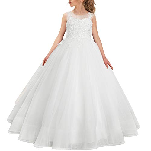 CQDY Flower Girl Lace Dress Embroidery Pageant First Communion Dress Wedding Ball Gown for 2-11 Years Old Ivory ()