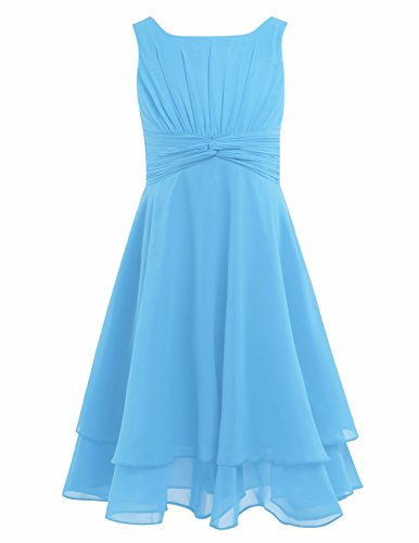 FEESHOW Kids Big Girls Sleeveless Double Chiffon Layers Wedding Bridesmaid Party Flower Girl Dress Sky Blue 6