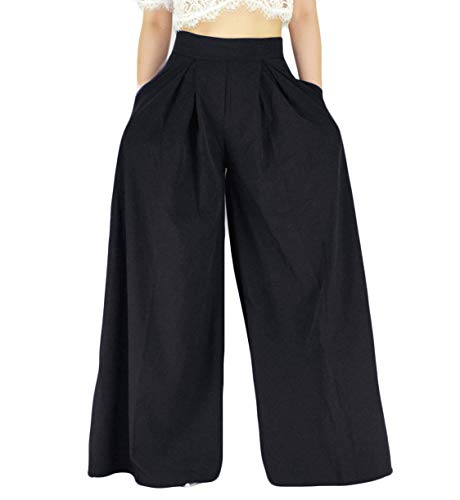 YSJERA Women's Sexy Semi Sheer Short Sleeve Lace Crop Top w/High Waist Palazzo Pants 2 Pieces Jumpsuits (Black Pants, L) (Lace Top Leg)