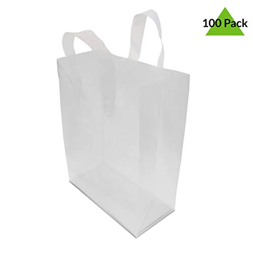8x4x10'' 100 Pcs. Frosted Clear Plastic Bags with Handles, Shopping Bags, Gift Bags, Take Out Bags with Cardboard Bottom by Prime Line Packaging (Image #3)