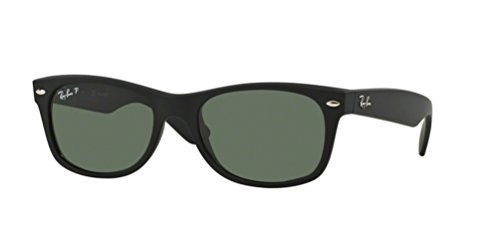 Ray-Ban RB2132 New Wayfarer Sunglasses Unisex (52 mm Matte Black Frame Solid Black Polarized Lens, 52 mm)