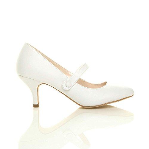 bajo corte zapatos White Ladies correa talón bombas mediados trabajo Matte Mary Womens fiesta tamaño Jane a5TqUzvqn