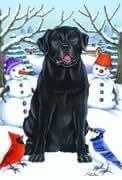 BOB Negro Labrador Retriever Perro–por Tomoyo Jarra, diseño de Invierno, Banderas 12x 18