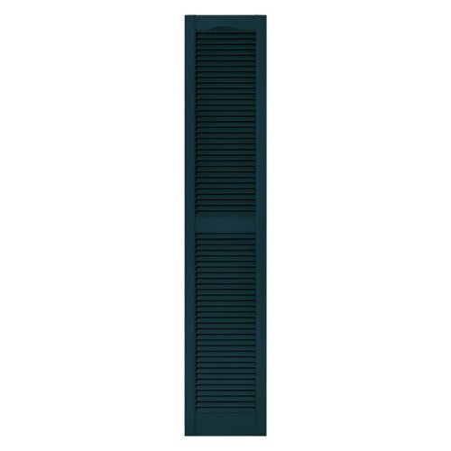 12 in. x 72 in. Louvered Vinyl Exterior Shutters Pair in #166 Midnight Blue by Builders Edge