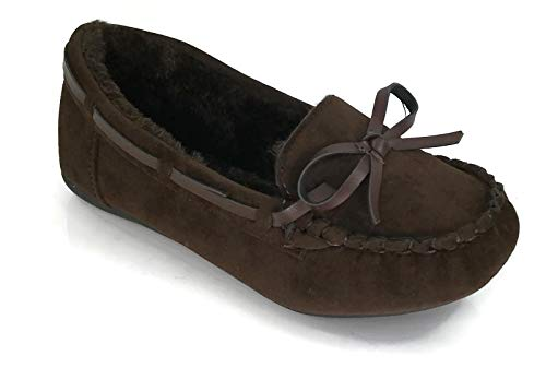 Kid's Girl's Faux Soft Suede Fur Lining Moccasin Loafer Shoes Slippers, BROWN 12 US Little Kid