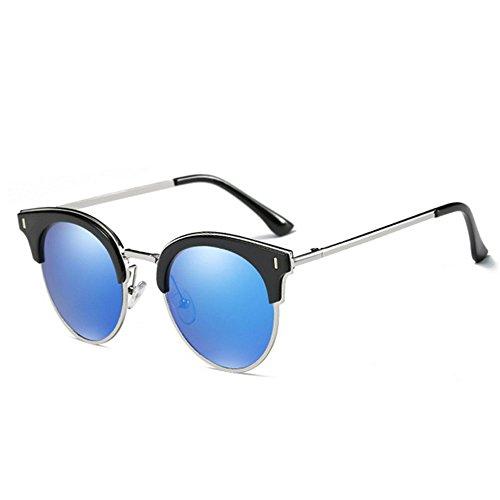 Personnalité Marque Lunettes de Anti Semi Rimless Femmes Hommes Soleil Cool blue de Soleil UV Lunettes Rétro SUrwfPSnAq