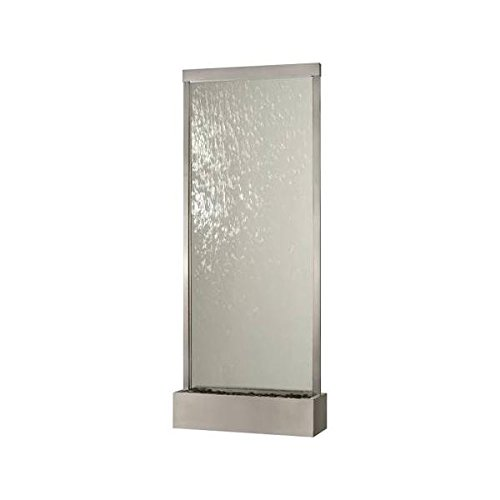 10' Waterfall Grande Floor Fountain Stainless Steel Frame w Clear Glass - Grande Clear Glass Waterfall