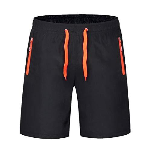 Sunhusing Men's Spring Summer Solid Color Zipper Pocket Drawstring Elastic Band Lace-Up Swim Trunks Orange