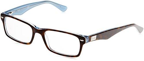Ray-Ban RX5206 Rectangular Eyeglass Frames, Tortoise On Transparent Blue/Demo Lens, 52 mm