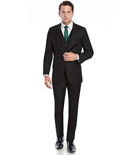 Mens Slim Fit Notched Lapel 2 Button 3 Piece Suit Set Designed by Taheri Black 80/20 46L