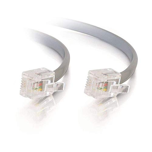 BoltLion BL-695235 7 Feet RJ11 Modular Premium Telephone Cable [Voice, 6P4C, Reverse] for Homes, Offices, Hotels or Schools - Silver, 100 Pack