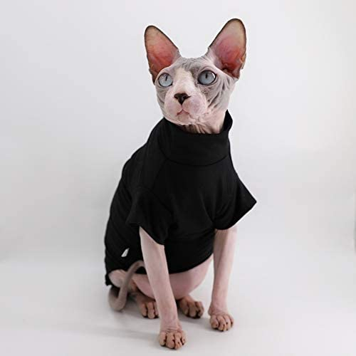 Dinosaur Design Sphynx Hairless Cat Clothes Cute Breathable Summer Cotton Shirts Cat Costume Pet Clothes,Round Collar Kitten T-Shirts with Sleeves, Cats & Small Dogs Apparel 21