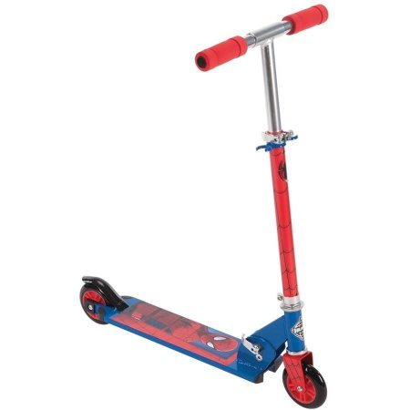 Huffy Boys' Marvel Ultimate Spider Man 2-Wheel Inline Red/Blue Scooter with Durable steel frame and Responsive rear brake