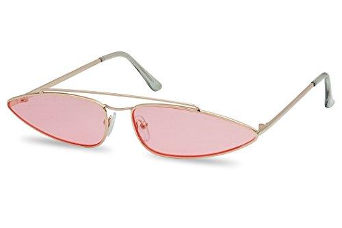SunglassUP Ultra Slim Retro 90's Skinny Wide Oval Sun Glasses Narrow Metal Crossbrow Cateye Shades (Gold Frame | ()