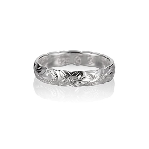 Flowers Hawaiian Ring (Size 7 Sterling Silver 925 Hawaiian Princess Scroll Cut Out Edge Promise Ring)
