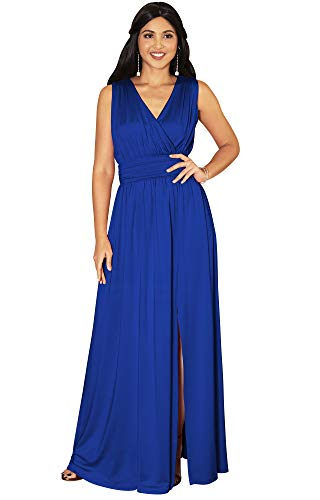 KOH KOH Womens Long Bridesmaid Wedding Guest Cocktail Party Sexy Sleeveless Summer V-Neck Evening Slit Day Full Floor Length Gown Gowns Maxi Dress Dresses, Cobalt/Royal Blue M 8-10