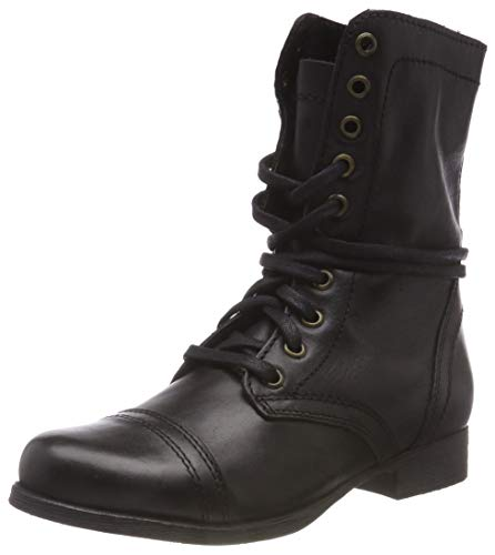 017 Black Troopa Boot Leather Black Bottines Ankle Femme Steve Madden YqnUw5z
