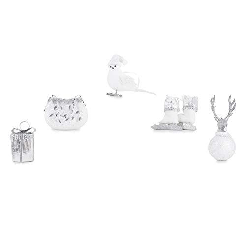 Santa's Gems Christmas Decorations Tree Ornaments Set Silver and White Keepsake Box