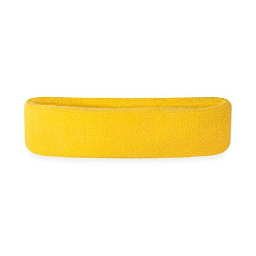 Suddora Kids Headband - Soft Terry Cloth Sports Head Sweatband for Youth Basketball, Soccer and More (Neon Yellow) -