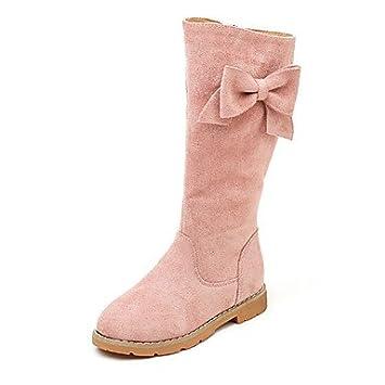 kekafu Las niñas Suede Zapatos de Moda Otoño Invierno Pelusas Forro Botas Botas Botas Mid-