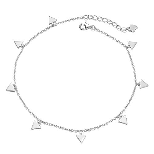 S925 Sterling Silver Jewelry Adjustable Triangle Slice Charm Foot Anklet Bracelet Beach Anklet Gift for Women Girls Mother's Day 9 inches to 10 inches