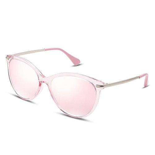 Gafas Cat Rosa Redonda de Pink Lentes Eye Sol Steampunk ultraligeras Sunglasses TL qCZfHwxAq