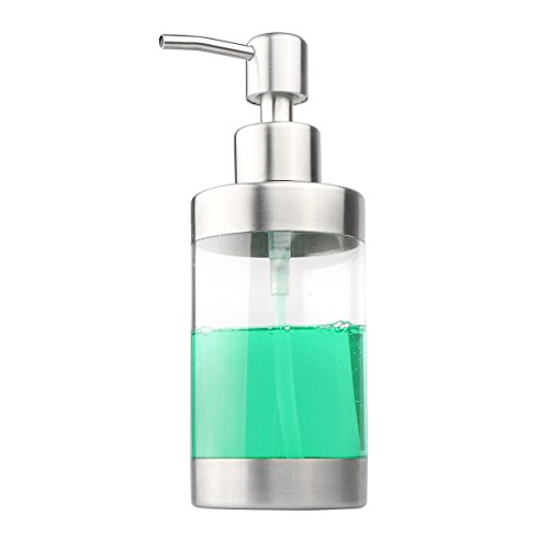 Soap Dispenser,Powstro Stainless Steel and Clear Acrylic Countertop Soap Dispensers Pump lotion Bottle for Kitchen Bathroom,350ml/ 12oz (Dishwashing Liquid 12 Oz compare prices)