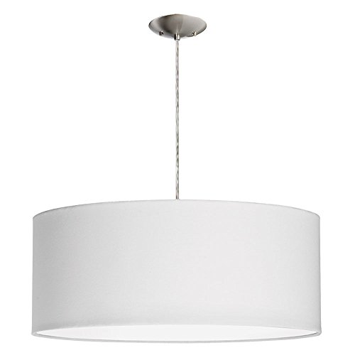 Dainolite Lighting 3-Light Pendant with White Shade, Satin Chrome Finished - Dainolite Satin Pendant