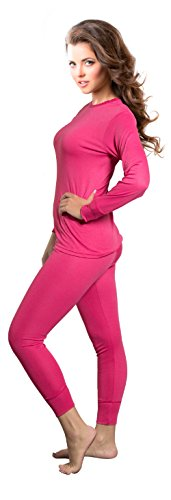 Rocky Womens Thermal 2 Pc Long John Underwear Set Top and Bottom Smooth Knit (Medium, Hot Pink)