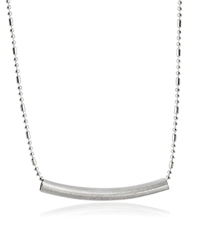 Sterling Silver Plated Curved Horizontal Bar Pendant Necklace, 18
