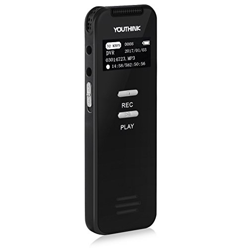 Digital Recorder Voice Activated 8GB Audio Sound Dictaphone with USB Double Microphone Input and Playback, MINI Rechargeable Portable Recording Device for Lectures Interviews meetings