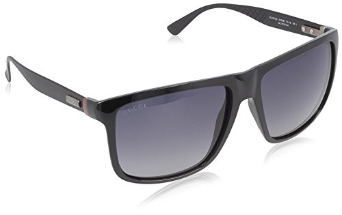 Gucci Sunglasses - 1075 / Frame: Shiny Black Lens: Gray - Sunglasses Square Gucci Black