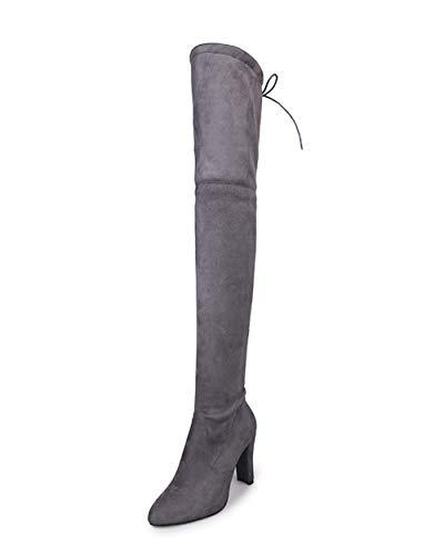 Stivali Grigio Autunno Ginocchio Boots Sopra Tacchi Invernali Donna Inverno Nuovo Cavaliere Beautytop Stivaletto Alti 6O6HrCqw