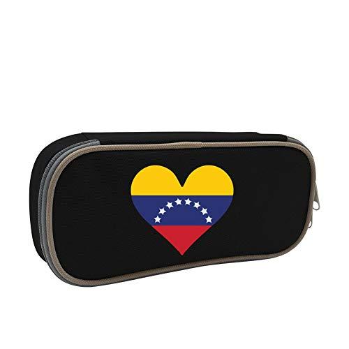 Heart Love Flag Venezuela - Venezuela Flag Heart Love Printed Pencil Case, GCASST Canvas Pen Bag, Boys Girls Adults Portable Pouch Bag with Double Zippers