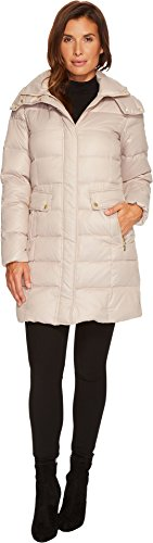 womens tan quilted coat - 6