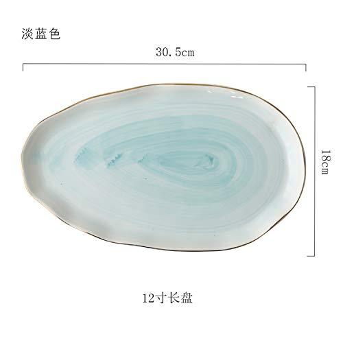 (Ceramic Tableware Plate Coffee Bowl Teapot Dish Table Decoration Dinner Set,Blue)