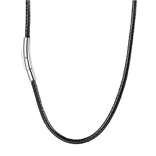 FOCALOOK 3mm Braided Black Cord Rope Chain Necklace with Stainless Steel Clasp 5.2mm, 30