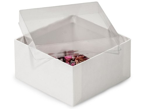 Clear Lid Display Jewelry Boxes -3-1/2x3-1/2x1-7/8 Clear Lid White Base Box (100 Boxes) - WRAPS-21TN