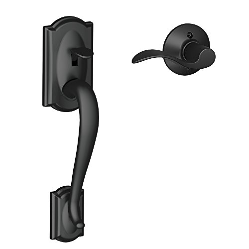 Schlage FE285 CAM 622 Acc RH Camelot Trim Lower Half Front Entry Handleset with Accent Right Hand Lever, Matte Black