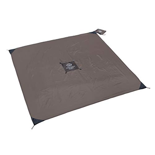 Monkey Mat - Original Mat | Lightweight Water/Sand Repellent Picnic Travel Blanket with Corner Weights - 5' x 5' (Gray Groove)