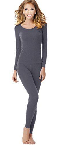 Women's Thermal Underwear Set Top & Bottom Fleece Lined, W1 Grey, Medium - Fleece Thermal Underwear