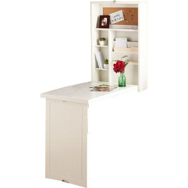 Latitude Run Fold Out Design Turrella Wall Mounted Floating Desk Made w/Manufactured Wood in Antique White Finish 32'' H x 22'' W x 6'' D in. from Latitude Run