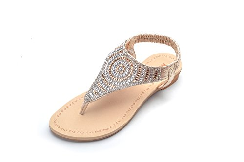 Sandals Rhinestones Ladies - Mila Lady Sparkly Rhinestone Elastic Rear Thong Flat Dress Sandal for Women, GIAN Champagne Size 7.0